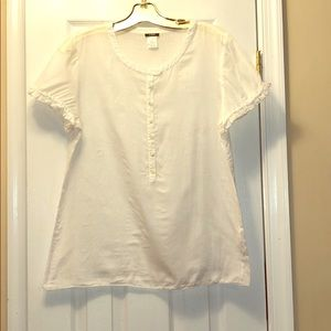 J. Crew white linen blouse - size 12